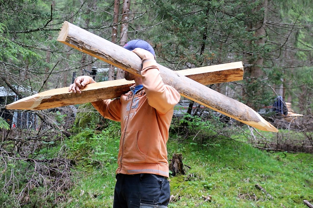 Alle tragen das Zaunholz auf dem Rücken. (Foto: Knut Kuckel)